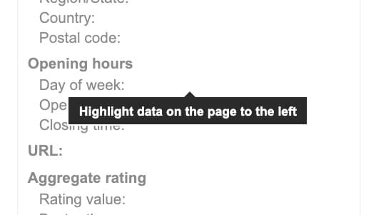 highlight data on the page to the left
