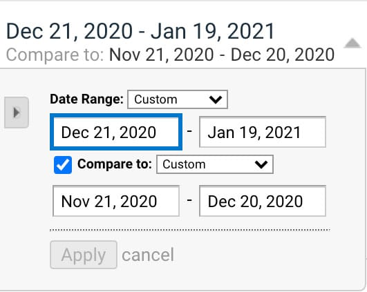 Compare date ranges in Google Analytics