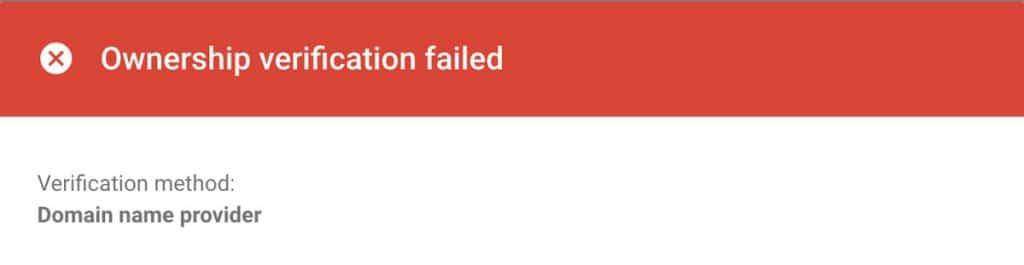 Ownership verification failed