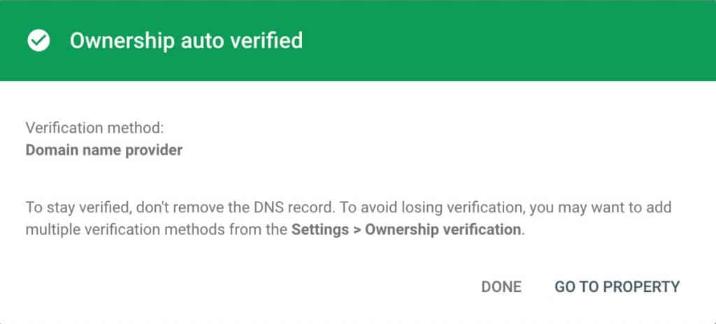 Domain Property Verified
