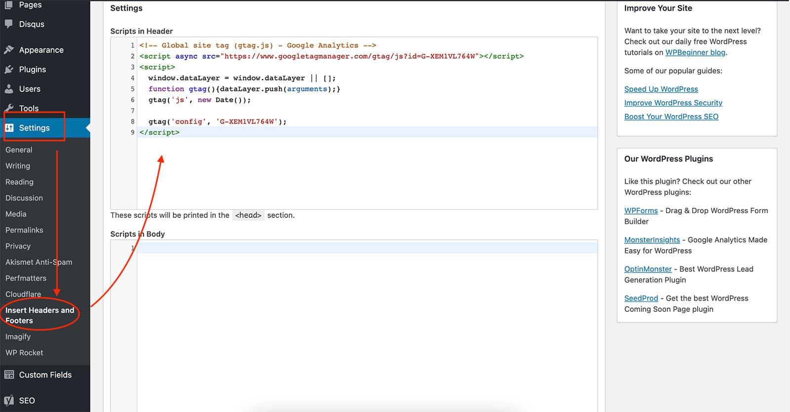 Insert Header Footer Script Plugin