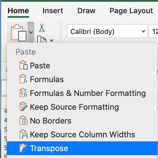 Transpose in Excel