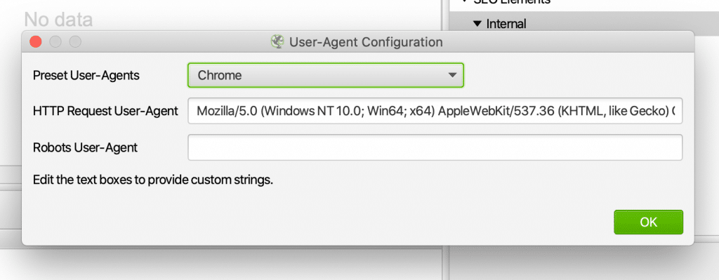 User-Agent Configuration