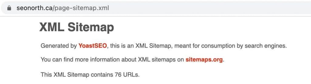 XML Sitemap Example