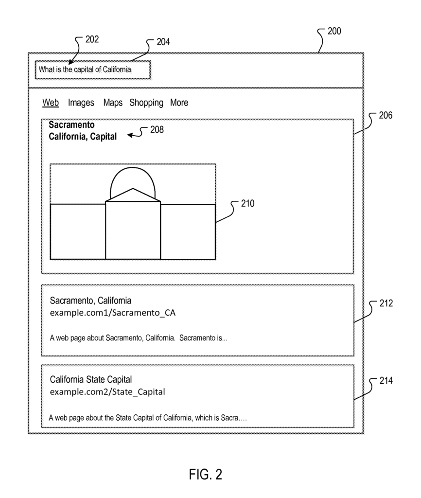 Google Patent: Rich content for query answers