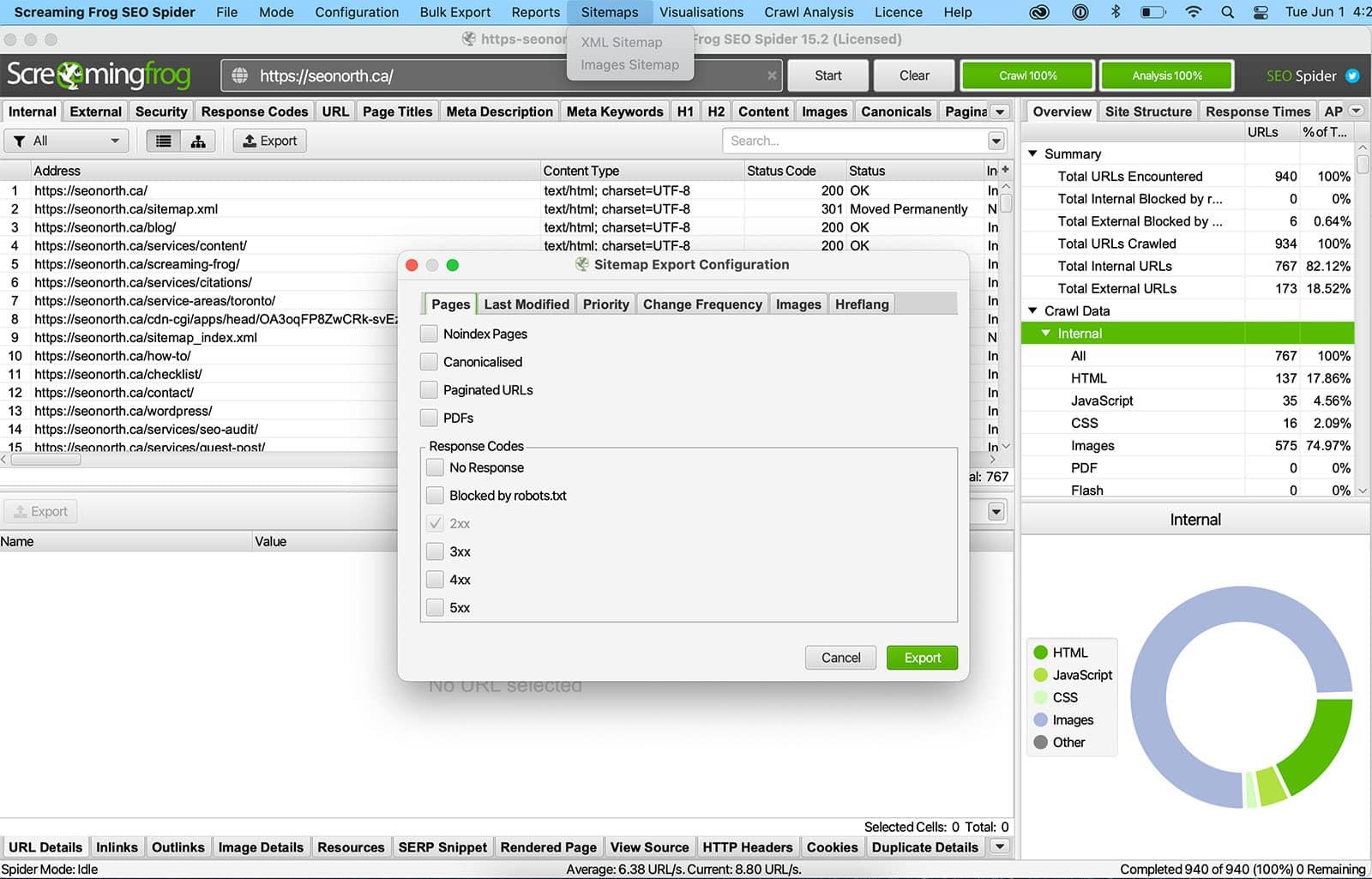 screaming frog: xml-sitemap export
